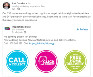 Inspirations Paint offers contactless pick-up and delivery options